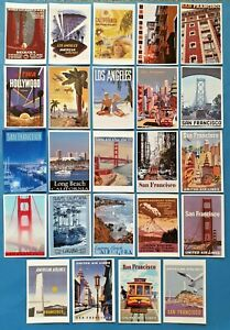 Set-28-New-Postcards-San-Francisco-Los-Angeles-California-Travel-Posters-84L
