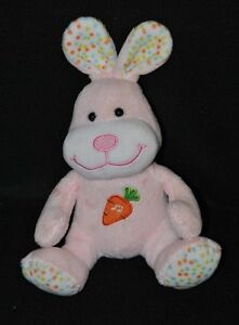 Peluche-doudou-lapin-musical-GIPSY-rose-blanc-a-pois-carotte-brodee-18-cm-TTBE