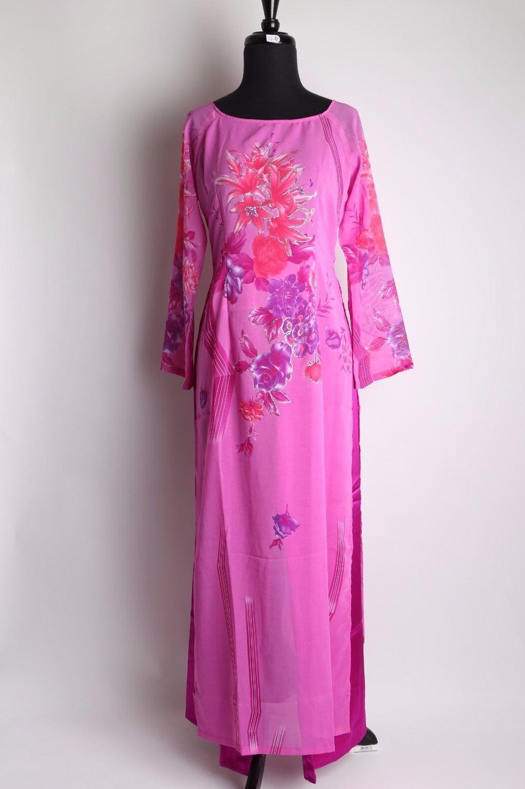2651b2abff09 Vietnamese Ao Dai Dress - Women's Glitter Pink Floral Ao Dai w Size 3XL -  Pants okzhly6821-Dresses