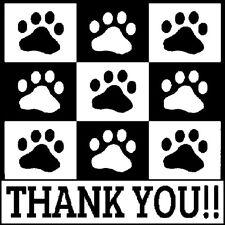 30 Custom Black Paw Print Thank You Personalized Address Labels