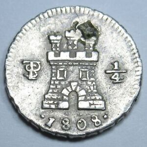 Potosi-1808-Silver-1-4-Reales-Real-Lion-And-Castle-Spanish-Cob-Old-Colonial-Coin