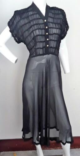 1940s Fabulous Black Sheer Rayon Swing Dress.