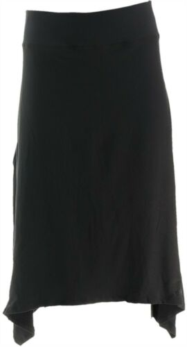 Cuddl Duds Flexwear Handkerchief Hem Skirt Black L NEW A346869