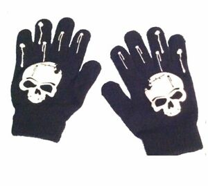 Gothic Stretch Winter Unisex BLACK SKULL GLOVES Punk Pirate Biker-Kids Teen Size