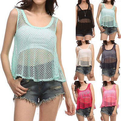 Fishnet Solid Sleeveless Scoop Neck BEACH WEAR COVER Tank Top Casual S M L