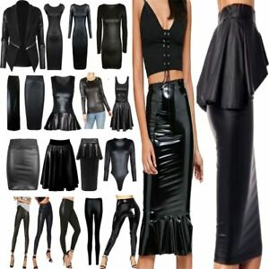 17cd6c94fe0 Women PU PVC Wet Leather Look Bodycon Dress Ladies Top Skirt ...