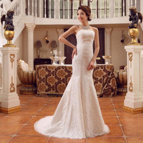 Strapless Princess Lace Mermaid Slim Wedding Dresses Simple Bride Robe