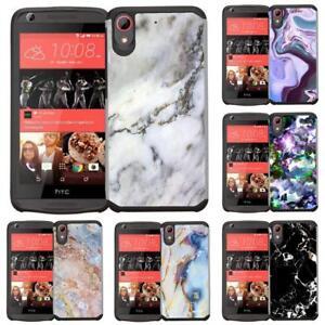 Para-HTC-Desire-626-626S-530-555-650-Marble-Diseno-Delgado-Hybrid-Armadura-Funda