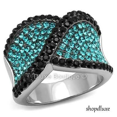 3.50 CT BLACK & TEAL CZ STAINLESS STEEL WIDE BAND FASHION RING WOMEN'S SIZE 5-10
