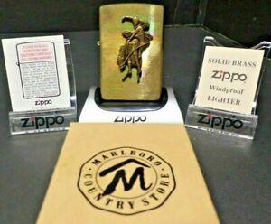 Vintage Zippo Solid Brass Marlboro Lighter Unfired Bucking Bronco Cowboy In Box
