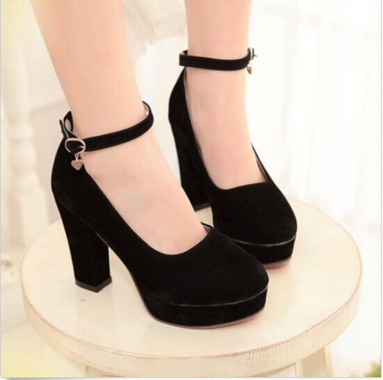 New Plus Size Fashion Womens Mary jane  Round Toe Chunky Block High Heels Shoes