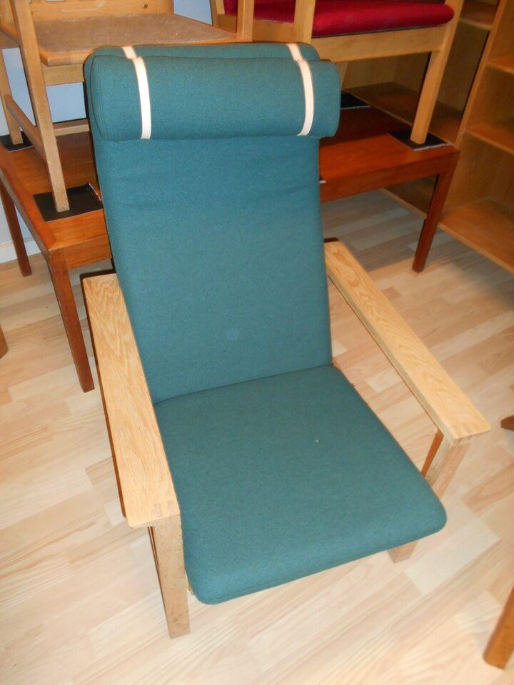 Lænestol, slædestol, eg, uld,  Børge Mogensen.