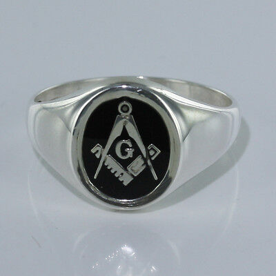 925 Hallmarked Solid Silver Masonic Square and Compass Ring With G Symbol