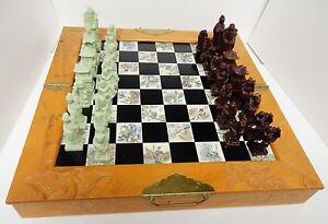 Asian Oriental Chess Set With Soapstone Pieces Wood Case