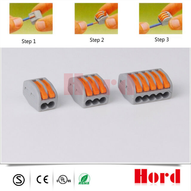 10× Spring Lever Terminal Block Electric Cable Wire Connector 2/3/5 Way Reusable