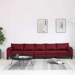 vidaXL-Sofa-5-Sitzer-Weinrot-Stoff-Polstersofa-Stoffsofa-Loungesofa-Couch