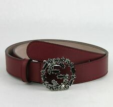 Gucci Women's Burgundy Leather Belt with Studded GG Buckle 80/32 354381 6263