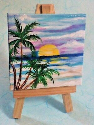 """NEW PALM TREES SUNSET FLORIDA MULTI-COLOR MAGNET 5/"""" X 8 1//2/"""""""