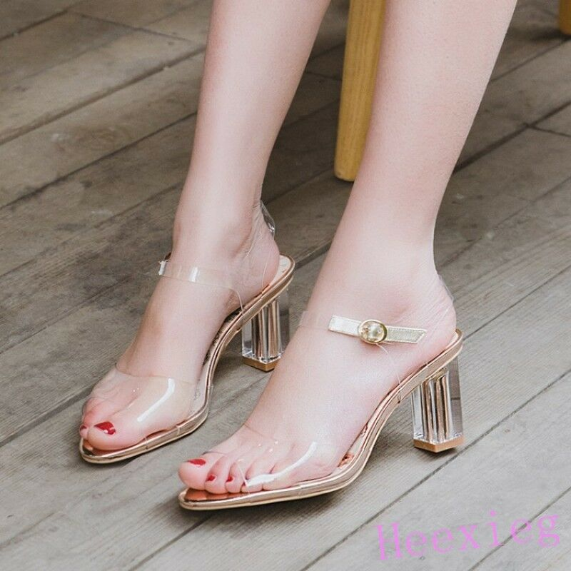 Fashion Womens Clear Transparent High Block Heel Ankle Strap Slingback shoes
