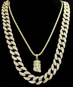 """Icy 2pc Set 20/"""" 24/"""" Cuban Link Chains 14k Gold Plated Hip Hop Necklaces"""