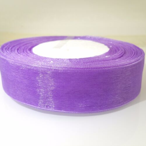 "25mm 1/"" medium violet tissée edge sheer organza ribbon 3M 5M 10M craft sewing"