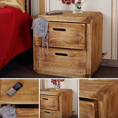 Design 3-tlg Schubladen-Tisch Nachtschrank Nachttisch Holz  Kommode Braun