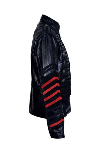 Leon Military Rock Parade Mens Classic Designer Style Black Glazed Leather Coat