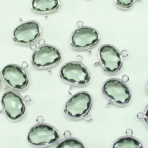 Irregular oval Framed glass Connectors for Necklace Earrings Jewelry #FG-039