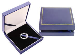 Blue Leatherette Box for A Size Airtite Coin Capsules Display Gift Guardhouse US