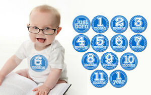 Boy Blue Monthly T Shirt Stickers Baby Shower Gift Put On Belly Every Month 718117753220 Ebay