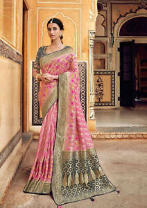 Indian Onion Pink Weaving Zari Border Bollywood Banarasi Silk Party Wear Saree