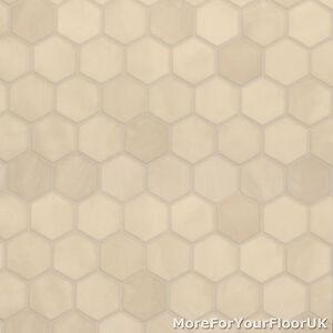 38mm Thick Vinyl Flooring Realistic Cream Hexagon Tile Effect