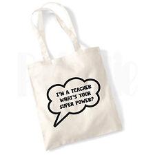 Super Power Teacher Canvas Tote Bag- GIFT FOR THANK YOU TEACHER