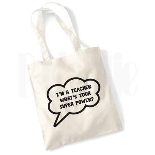 Super Power Teacher Canvas Tote Bag GIFT FOR THANK YOU TEACHER