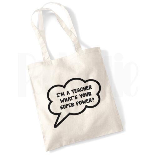 Super Power Teacher Canvas Tote Bag GIFT FOR THANK YOU TEACHER