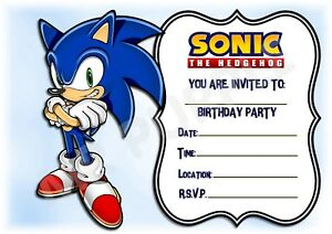 Sonic The Hedgehog Kids Childrens Party Invitations X 12 Frame