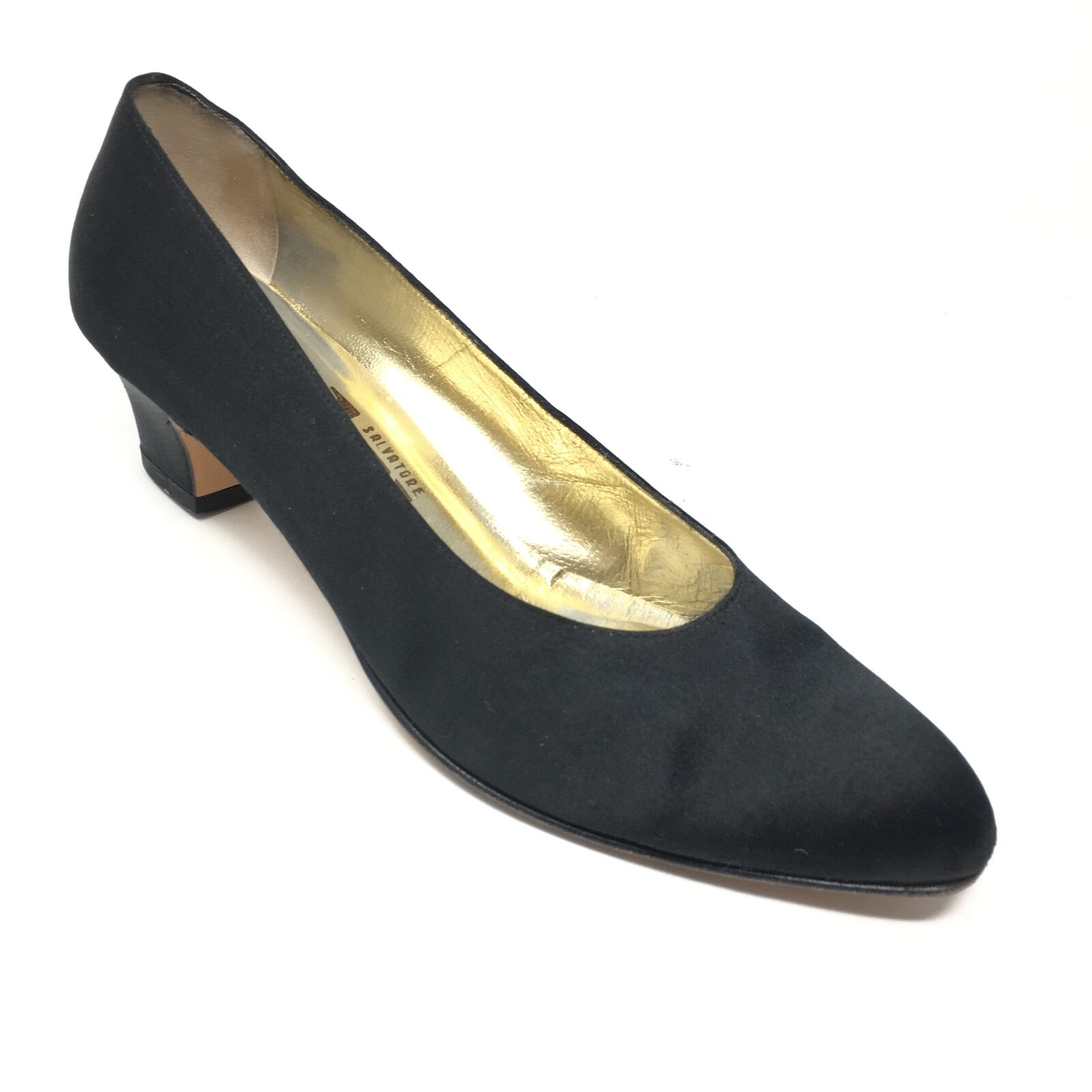 Women's Salvatore Ferragamo Pump Heels shoes Size 8AA Black Fabric Dress V15
