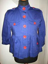 LULU & AND RED swing nautical military blazer JACKET COAT UK 10-12 blue