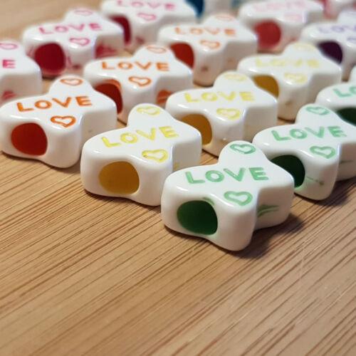 Großloch perles acrylique LOVE 24 X Mix Bead Perle Charme 4 mm trou