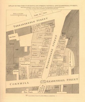 1834 Map A Plan Of The 1765 Bishopsgate Street Fire Cornhill Threadneedle St