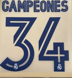 FLOCAGE Real Madrid CAMPEONES #34 Print Nameset . 2020