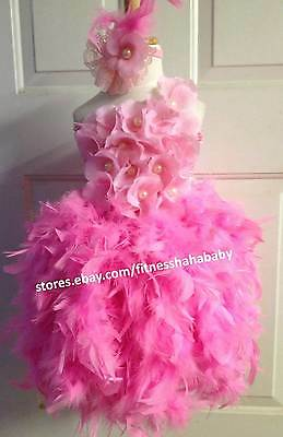 Birthday Surprise Couture pink Feather skirt flower crochet top any kids size
