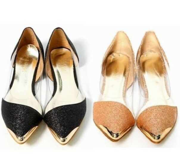 FASHION gold black LOW HEEL FLAT BALLERINAS LOAFERS SHOES GLITTER PUMPS 214 3-8