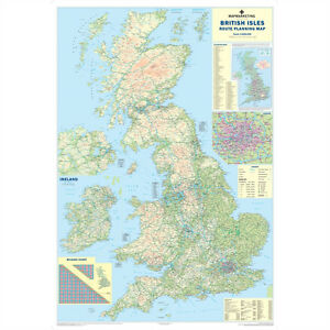 Britain England Map.Brand New Laminated Dry Wipe Road Wall Map Of Great Britain England