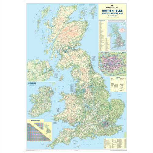 *BRAND NEW* LAMINATED DRY WIPE ROAD WALL MAP OF GREAT BRITAIN//ENGLAND ¸ MAP1177