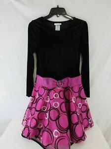 Bonnie Jean Black Velveteen Red Sparkle Girls Holiday Dressy Dress Size 6