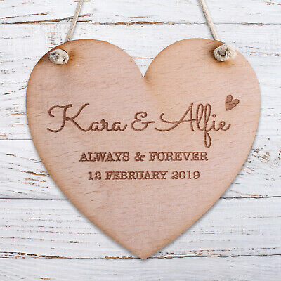 Personalised Wooden Door Sign Heart Shabby Chic Hanging ...