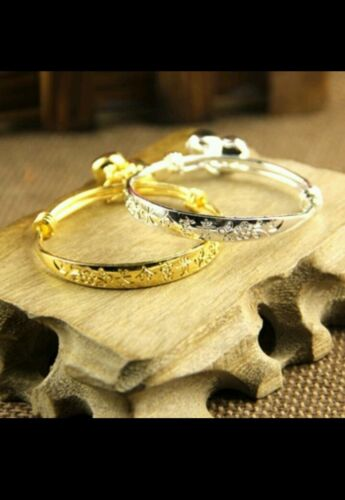 2* BABY silver /& gold  BANGLE BRACELET ADJUSTABL BOY GIRL 0-7YEAR birthday GIFT
