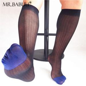 Doux Nouveau 1 Paire Homme Otc Large Rayé Noir Jaune Bule Toe Sheer Dress Socks 0027-afficher Le Titre D'origine