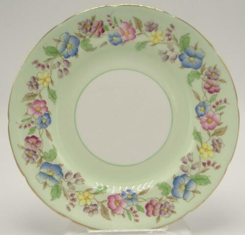 Foley Flowers English Bone China Dessert Plate Pale Green Gold Gilding Pink Blue